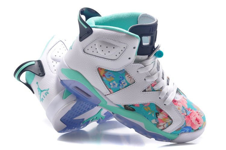 "Womens Air Jordan 6 GS ""Floral"" Custom White/Turquoise For Sale In Girls  Size"