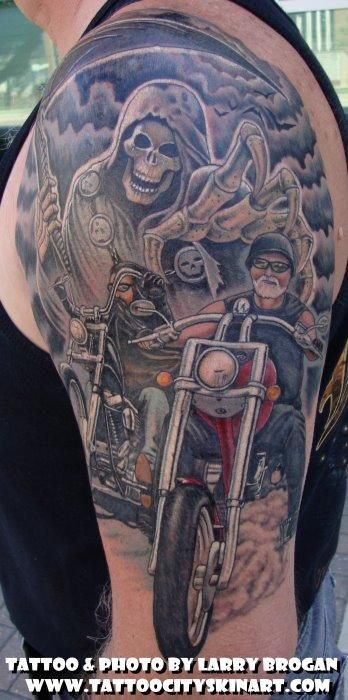 Pin By Stan Wolf On Reaper Say S Hello Biker Tattoos Sleeve Tattoos Tattoos