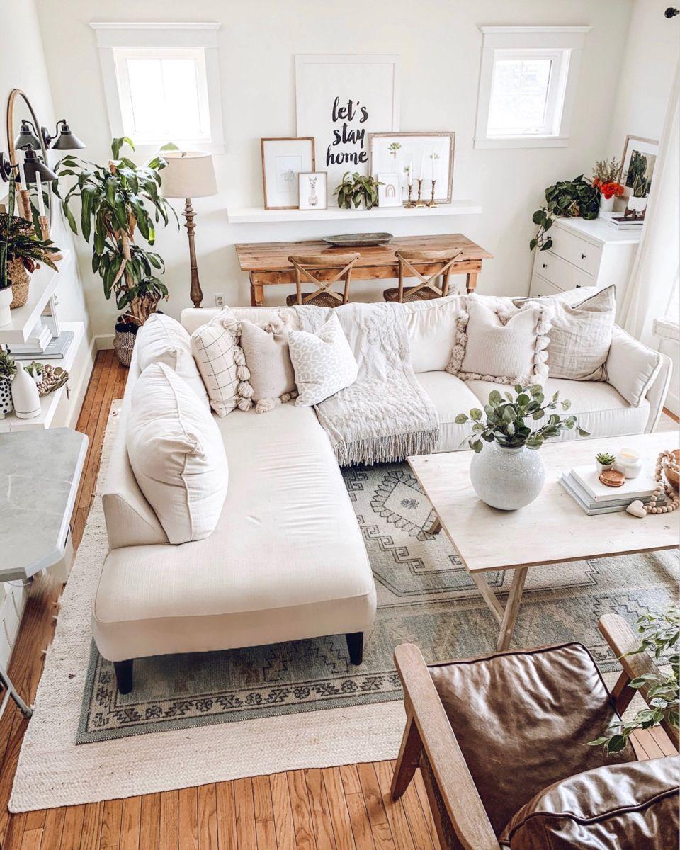White Living Room, White Sectional, Decor, Boho Design