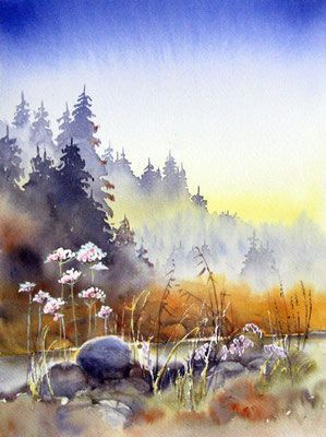 Aquarell Landschaft In 2020 Aquarell Aquarelle Landschaften Aquarellbilder