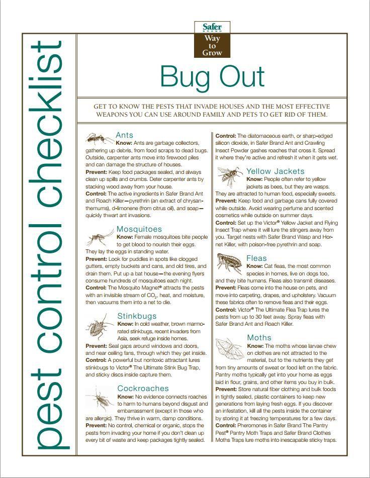 Bug Out Organic Pest Control Checklist Pest Control Organic Pest Control Pests