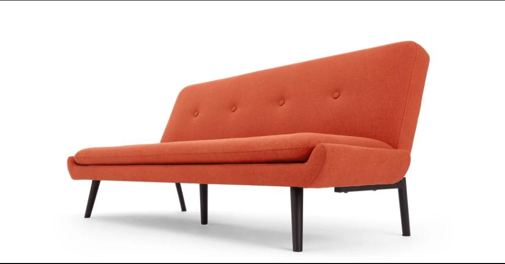 Edwin Click Clack Sofa Bed, Retro Orange Sofa bed, Retro