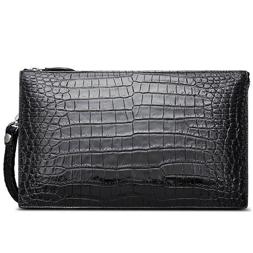 Mens Genuine Leather Clutch Bags Black Large Business Organizer Travel Wristlet Wallet
