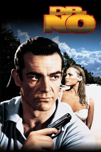 """""""Dr. No,"""" 1963.  The first James Bond movie.  """"Bond, James Bond"""".  Ursula Andress as Honey Ryder emerging in the white bikini from the ocean."""