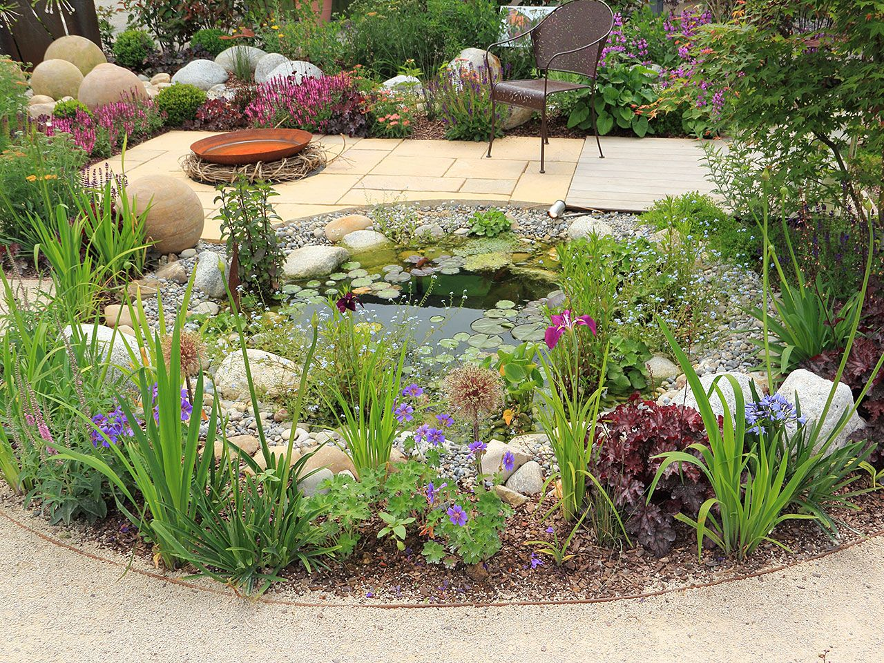 Garden pond with flowers and shrubs gardens pinterest for Landscaping around a small pond