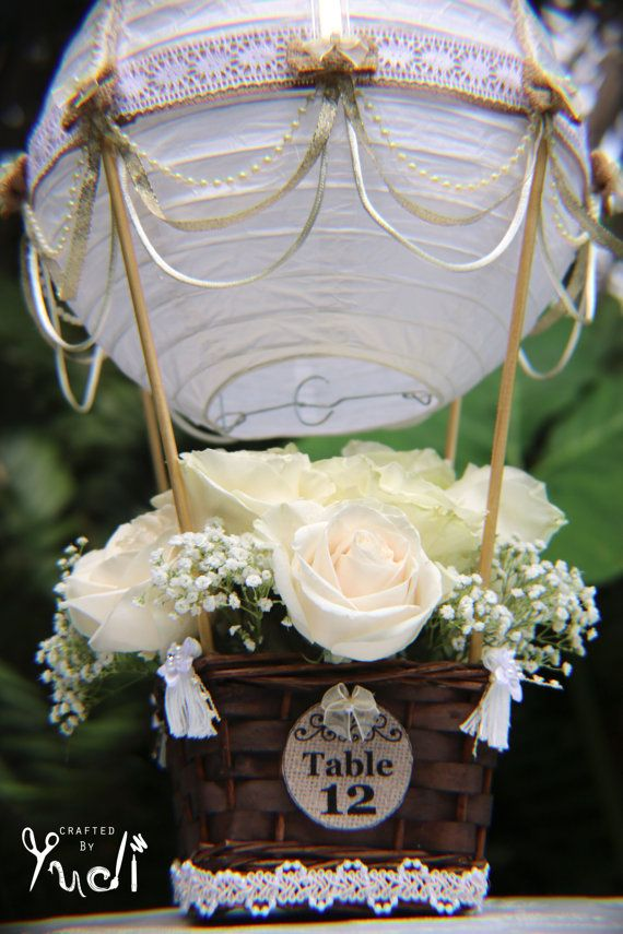 hot air balloon wedding table number centerpiece hot. Black Bedroom Furniture Sets. Home Design Ideas