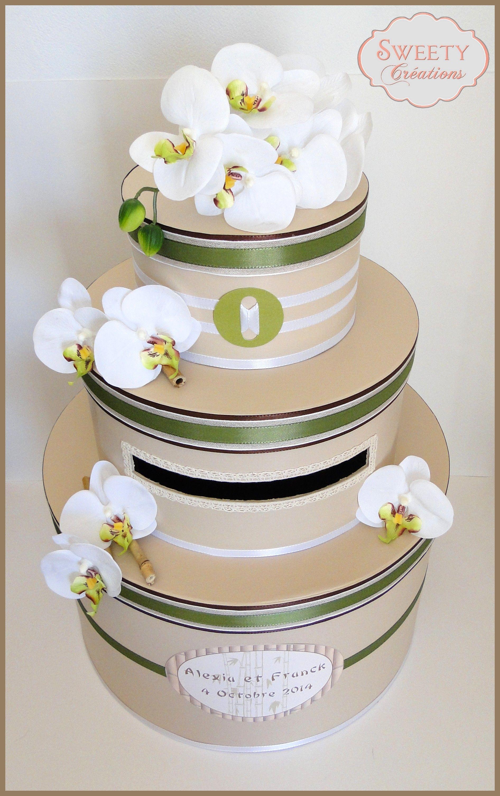 Urne th¨me zen bambou orchidée vert beige et blanc