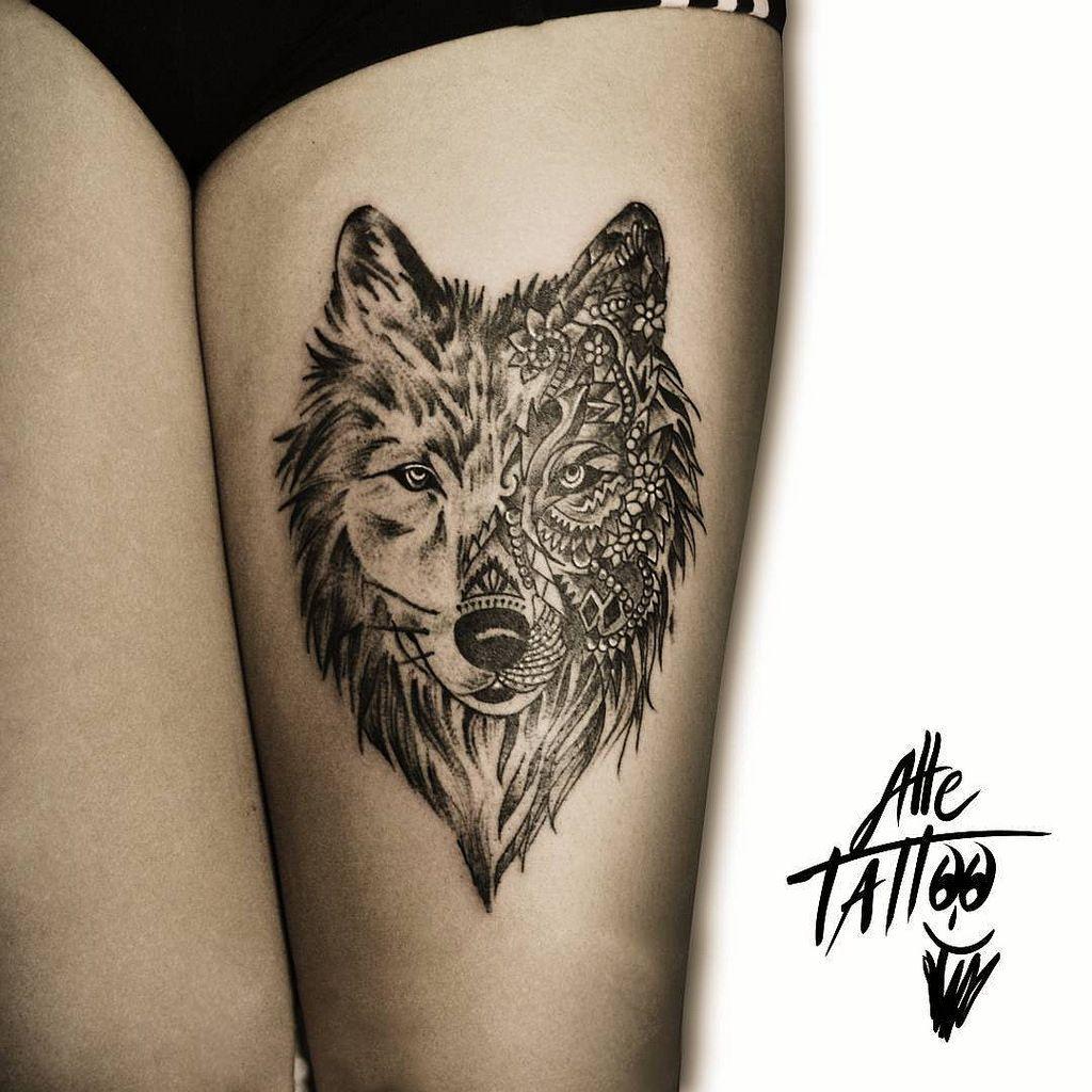 Wolf Thigh Tattoo