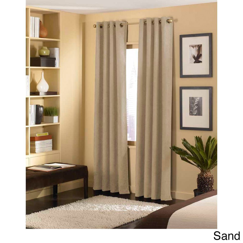 Cameron Luxe Microsuede Grommet Curtain Panel (120 Inch   Sand   39.99),  Beige
