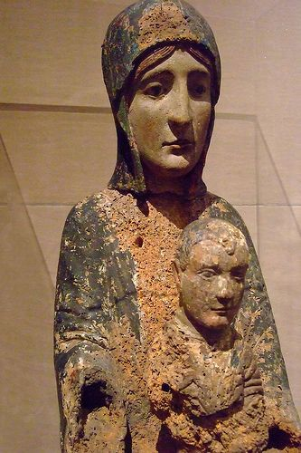 Enthroned Virgin and Child Wood and Paint carved late 1100s CE Auvergne region Central France