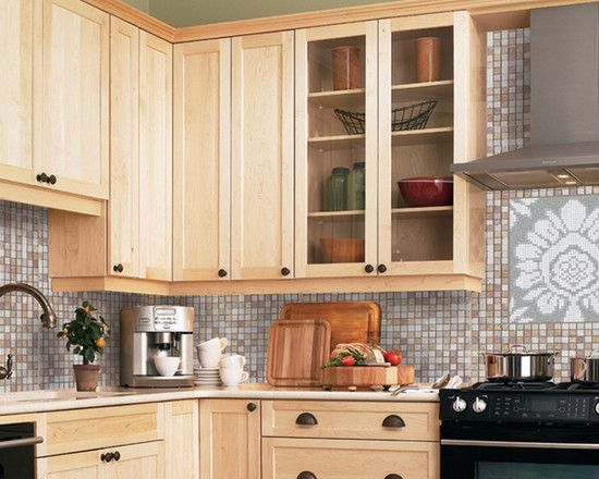 Cabinets: Adorn Pendant Beige Mosaic Backsplash At Traditional Kitchen  Bronze Knobs With Light Maple Cabinets With Dark Pull, Kitchen Cabinets,  Wall Storage
