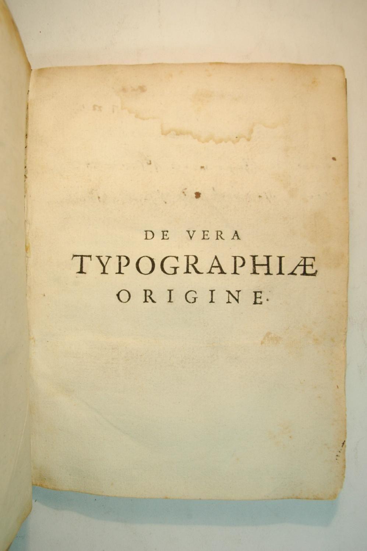 MENTEL, Jacob. De Vera Typographiae Origine (Paris 1650)