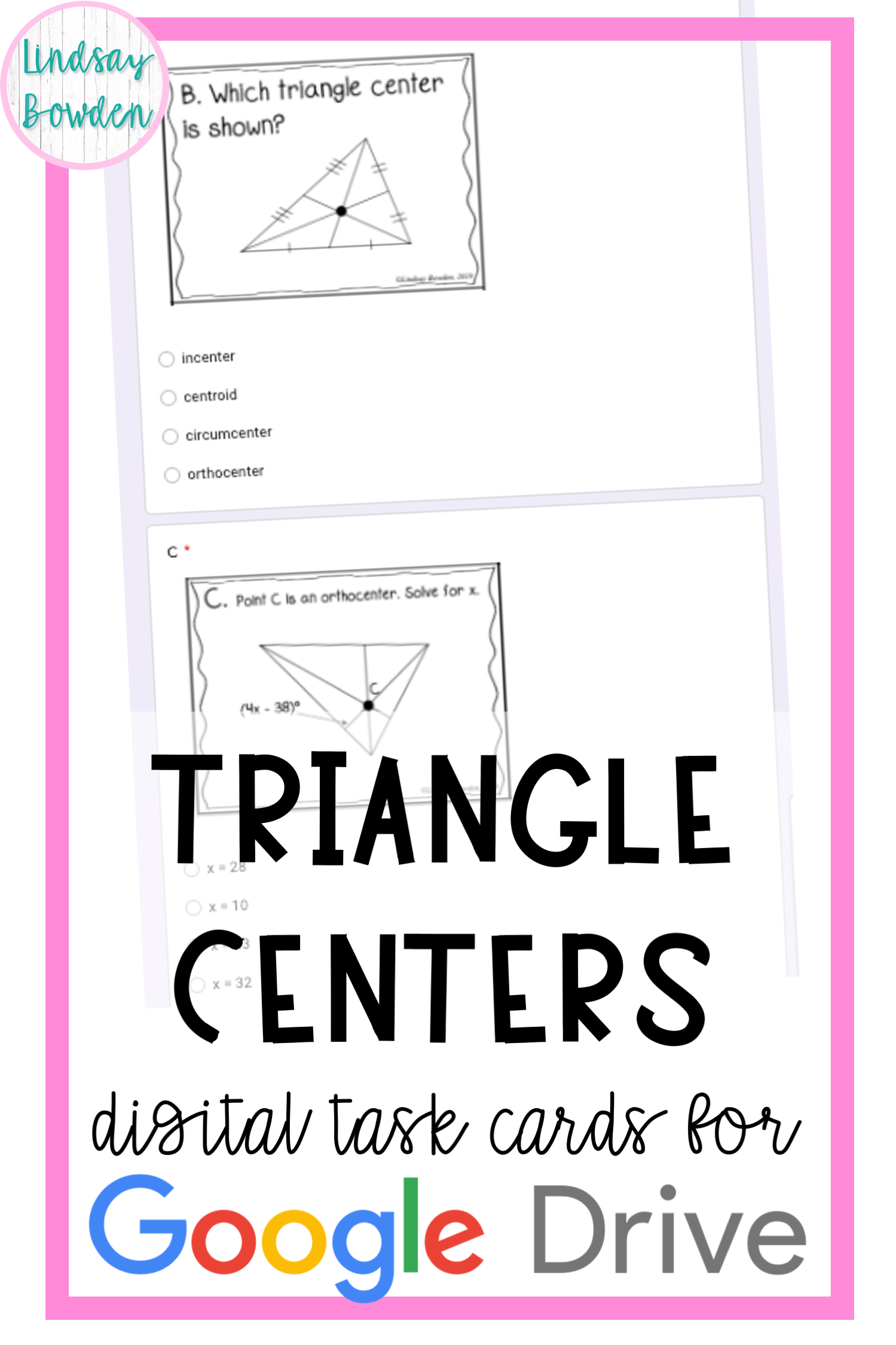 Triangle Centers Digital Task Cards In