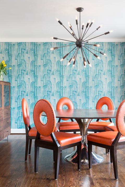 Eclectic Dining Room. Orange dining room chairs. Dining room wallpaper. Design // Austin Bean Design Studio