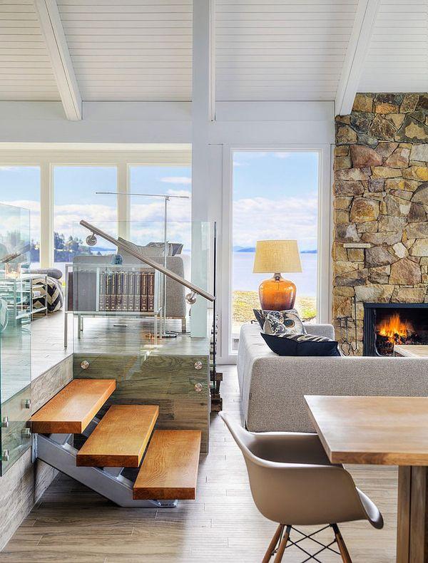 Mid century modern beach house retreat on pender island for Modern beach interiors