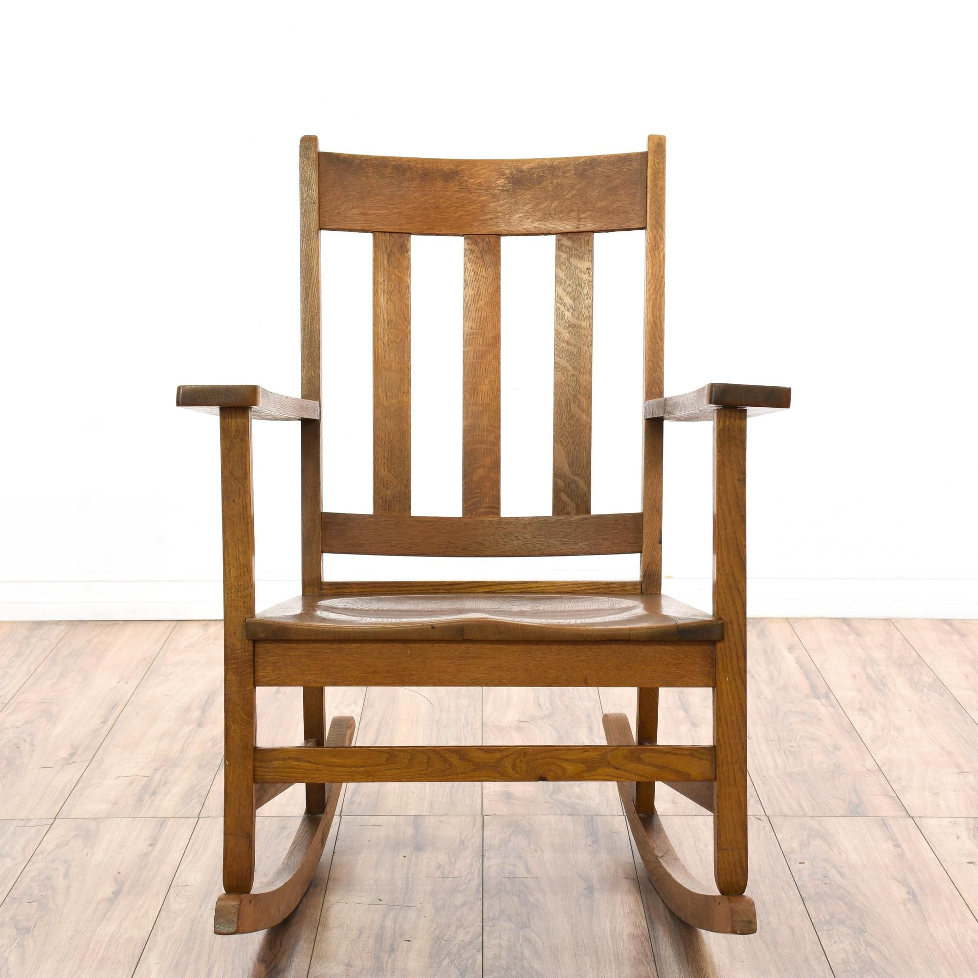 This Rocking Chair Is Featured In A Solid Wood With A Glossy Dark Oak Finish This Country Chic Style Rocker Has A Slat B Rocking Chair Chair Vintage Furniture