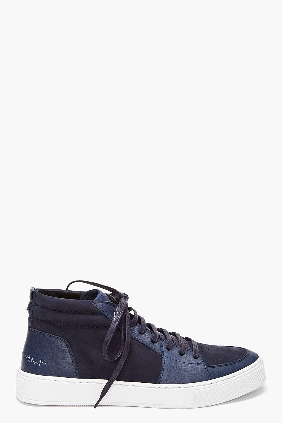 a9d49a7369f Yves Saint Laurent Navy Mid Malibu Sneakers | mode för men | Shoes ...