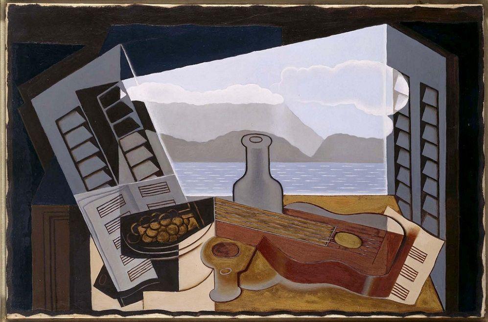 La fenêtre ouverte (La ventana abierta). 1921 (enero-marzo). Óleo sobre lienzo, 66 x 100 cm. Museo Reina Sofía. Obra de Juan Gris.