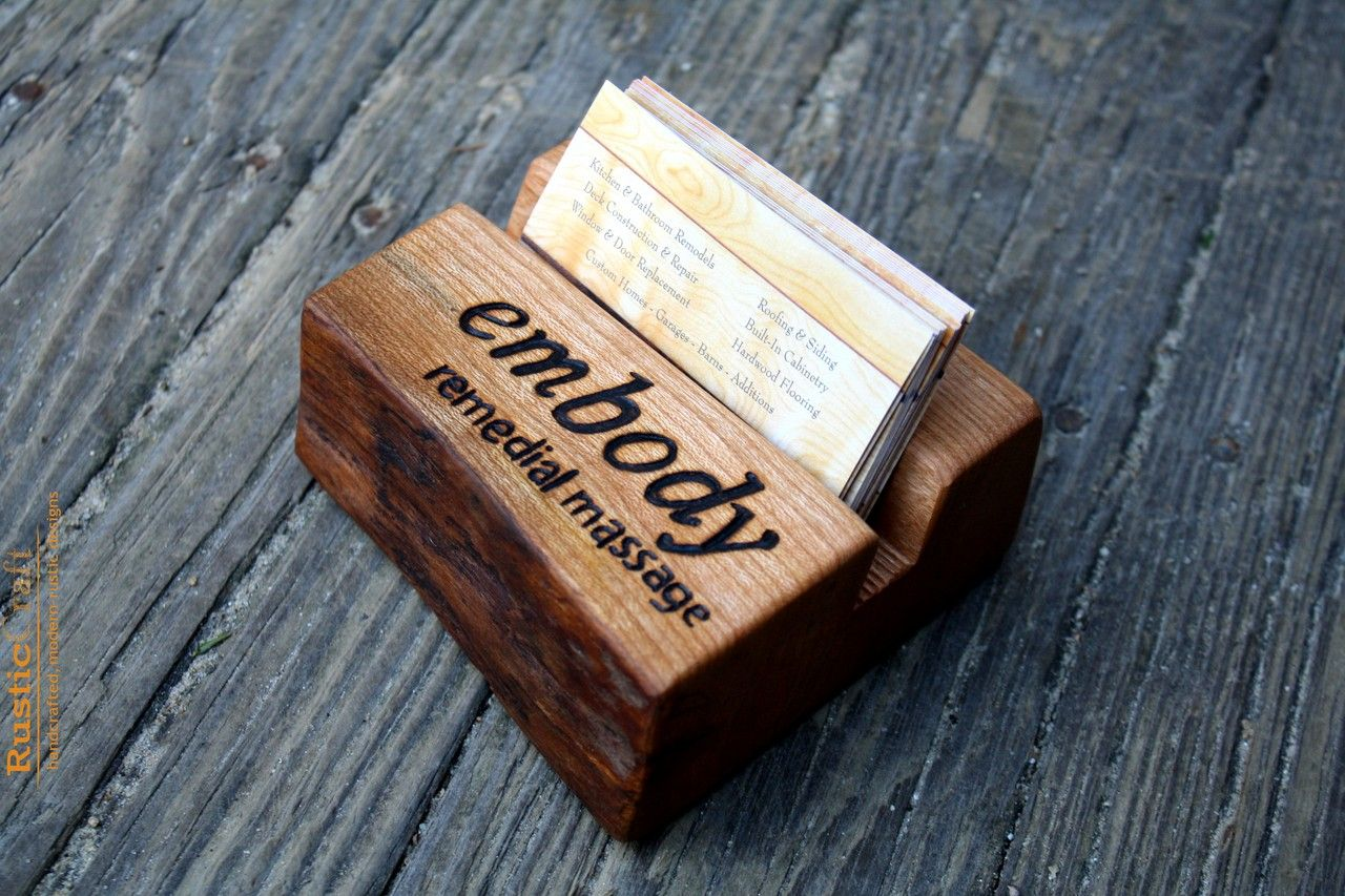 Wooden Office Gifts ~ Personalized business card holder rustic live edge wood