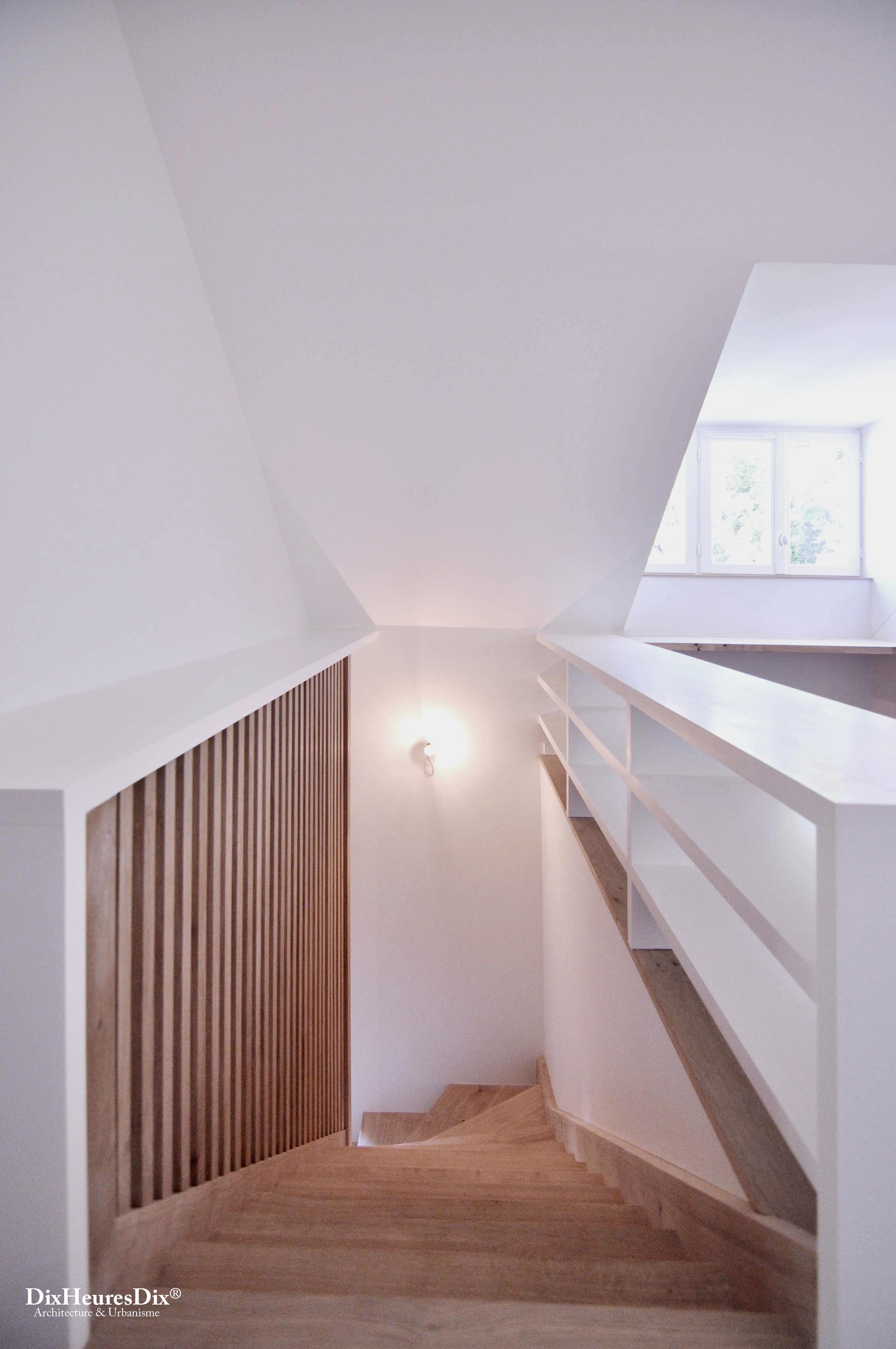 Escalier En Bois Avec Rangement restructuration d'une résidence à poitiers - dix heures dix