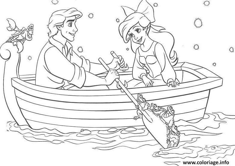 Coloriage Ariel La Petite Sirene En Barque Avec Son Prince