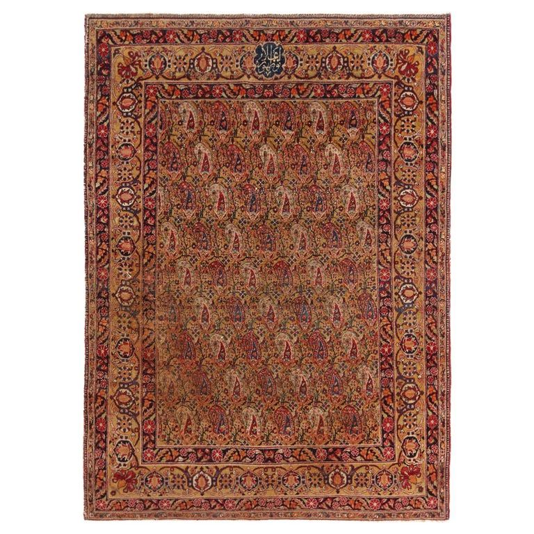 Antique Kerman Lavar Golden Beige And Purple Wool Rug With Boteh Patterns Rugs On Carpet Persian Rug Modern Persian Rug