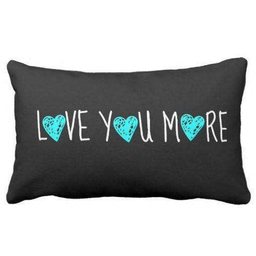Love You More White W Aqua Hearts On Black Pillow Zazzle Com Black Pillow Covers Black Pillows Black Pillow Cases