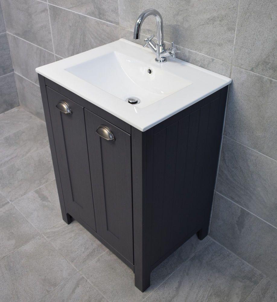 Derby 600mm Dark Grey Bathroom Storage Vanity Sink Basin Unit Ebay Grey Bathroom Storage Sink Vanity Unit Grey Bathroom Vanity