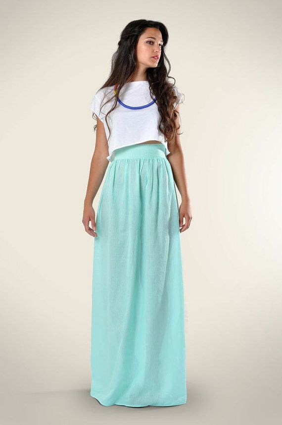 Aqua Maxi Skirt, Sheer Cotton maxi skirt | Cotton maxi skirts ...
