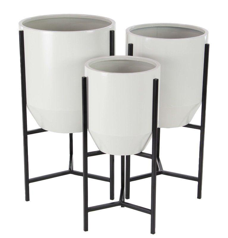 Modern Tapered Round 3 Piece Metal Pot Planter Set With Stand Rak Pot Bunga Besi