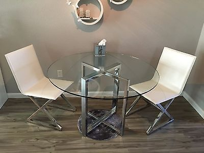 Cb2 Silverado Chrome Round Dining Table Glass Top Zgallerie Axis
