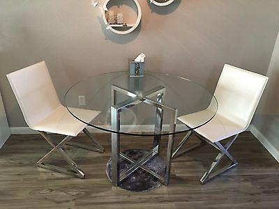 Cb2 Silverado Chrome Round Dining Table Glass Top Zgallerie Axis