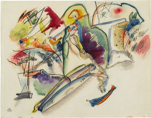 wassily kandinsky biography | Painter Wassily Kandinsky. Painting. Watercolor (Number 13). 1913 year