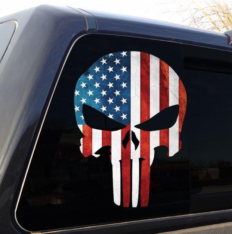 Punisher Skull American Flag Military Decal Sticker