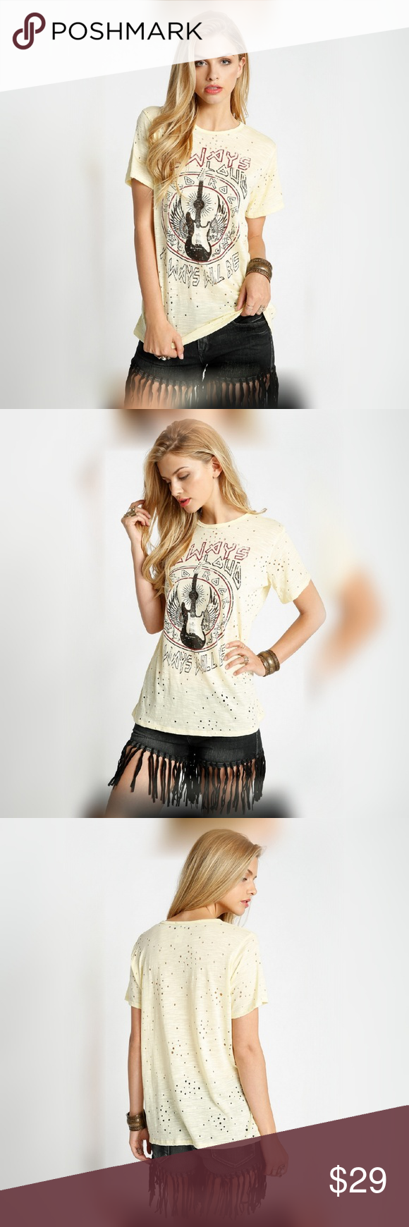 Wild Side Distressed Rock Top Express your wild side with this fun distressed loud and proud rock top. Light yellow. Tops
