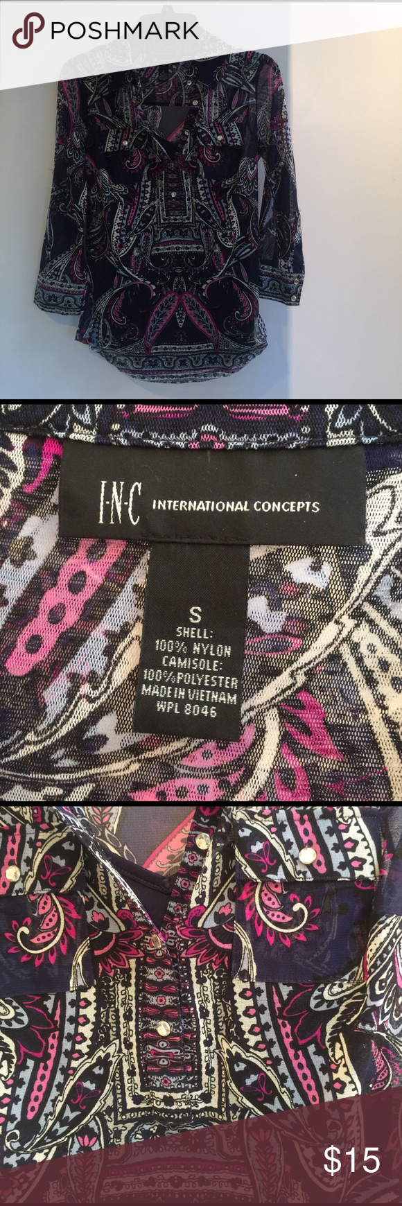 INC camisole and see thru patterned shirt Hardly been worn - fun spring light see thru 3/4 sleeve top with a navy blue camisole underneath. Can be securely attached from inside. INC International Concepts Tops Button Down Shirts