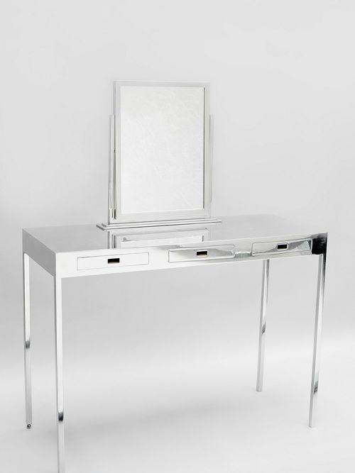 Cheap Glass Vanity Table With Small Mirror Glass Table Set