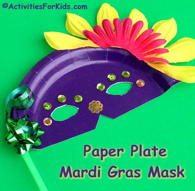Paper plate Mardi Gras Masks for kids to make. Add colorful items that can be found at the Dollar Tree for a festive Mardi Gras craft for kids to make.  sc 1 st  Pinterest & Paper Plate Masks - Mardi Gras Crafts for Kids | Pinterest | Mardi ...