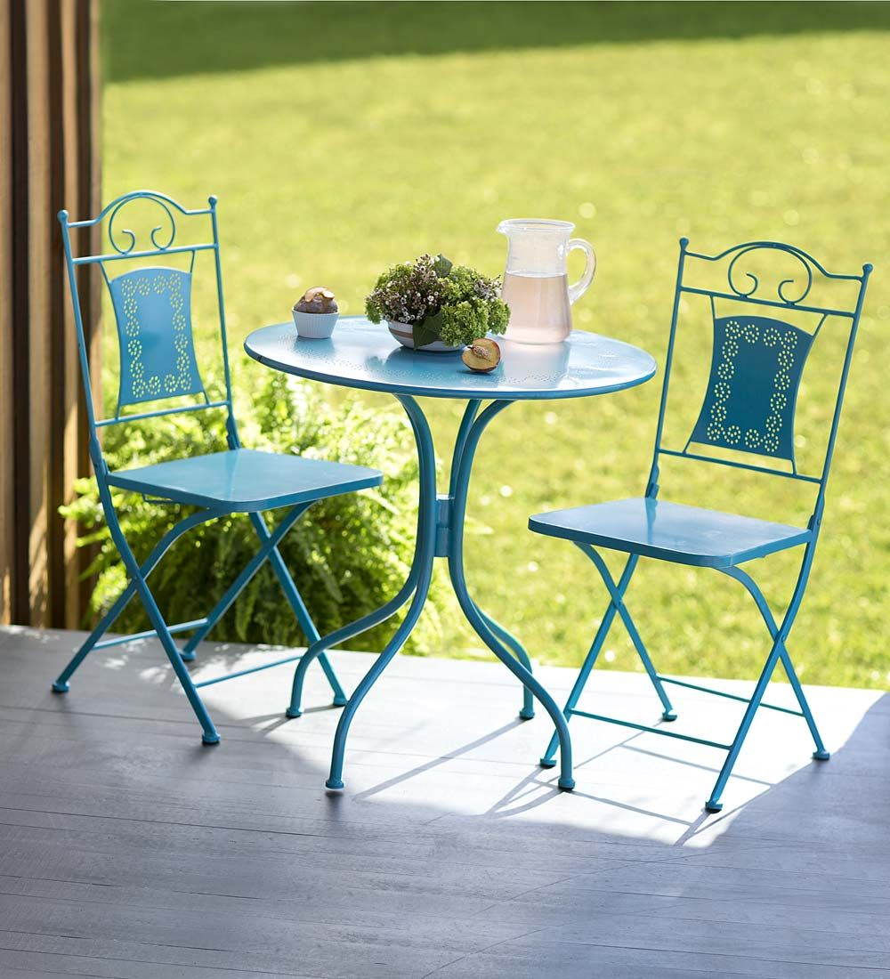 Small Patio Table And Chairs Part - 49: Cute Little Outdoor Table And Chairs. Nice Teal Color, Great For Balconies  And Small