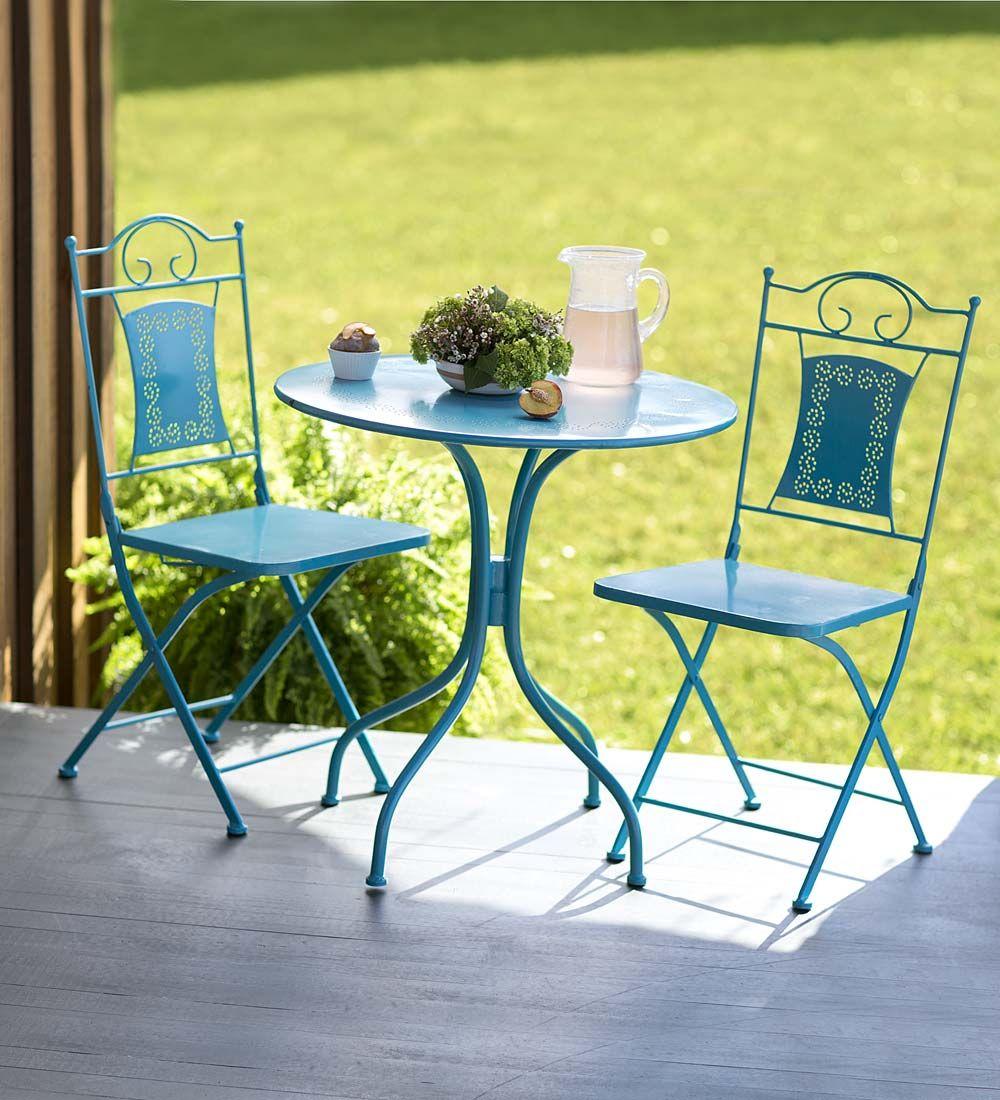 teal metal bistro set outdoor seating