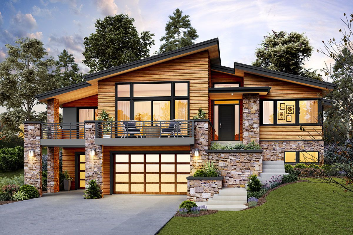 Plan 69746am Modern Home Plan For An Up Sloping Lot Sloping Lot House Plan Contemporary House Plans Modern House Plans