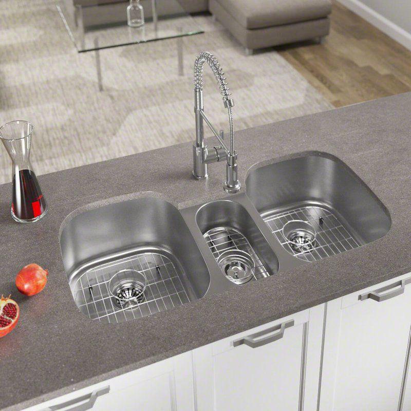 Stainless Steel 43 X 21 Triple Basin Undermount Kitchen Sink