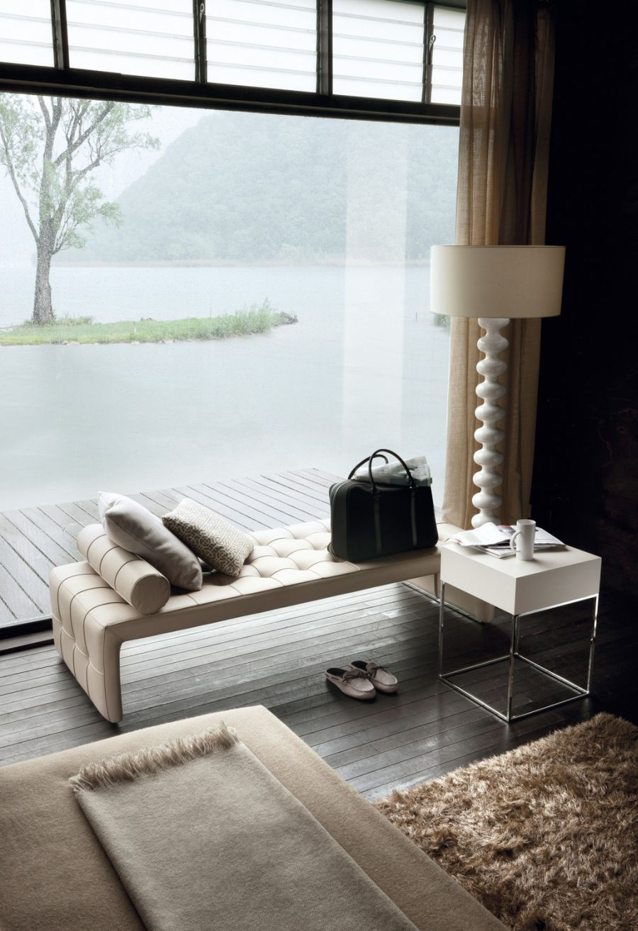 white bedsite table used in the livingroom combined with white bench ...