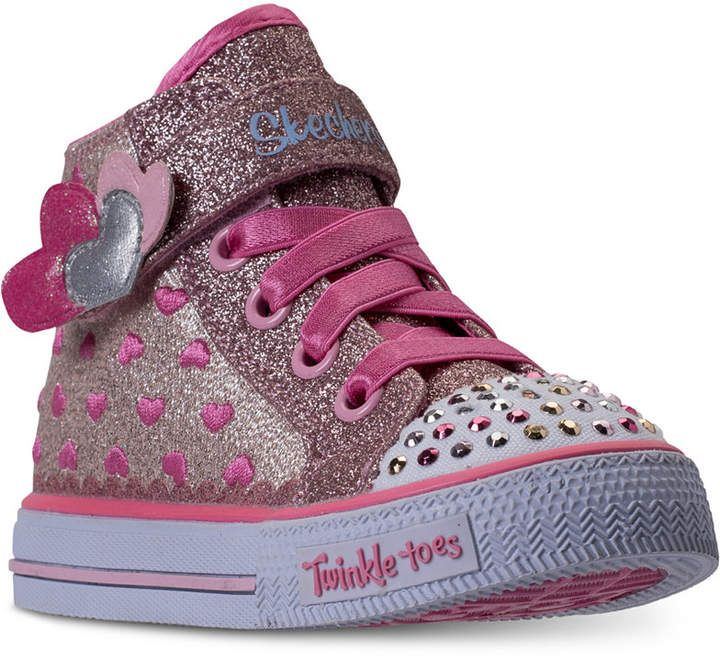 d7d7178fff96 Toddler Girls  Twinkle Toes  Shuffles - Cutie Kicks Light-Up High Top  Casual Sneakers from Finish Line  Toddler Skechers Girls