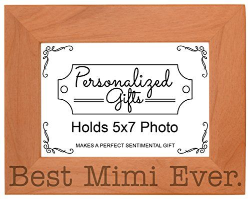 Birthday Gift for Grandma Best Mimi Ever Natural Wood Engraved 5x7 ...