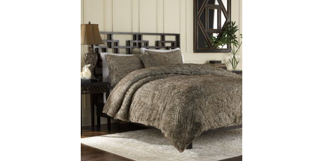 Luxury Fur Duvet Cover And Sham Set In Chocolate Duvet Covers