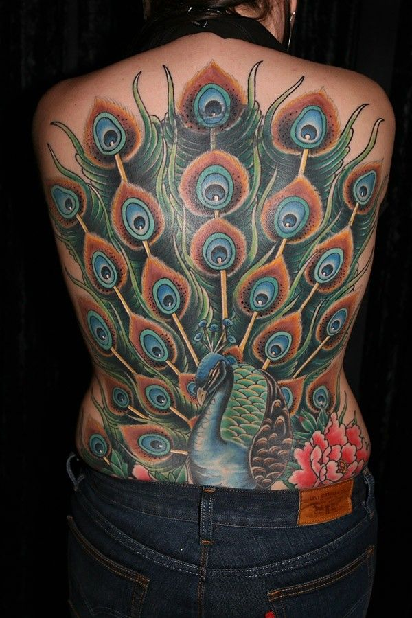 Peony Watercolor Flower Tattoos: Peacock&Peony Watercolor Tattoo On Full Back