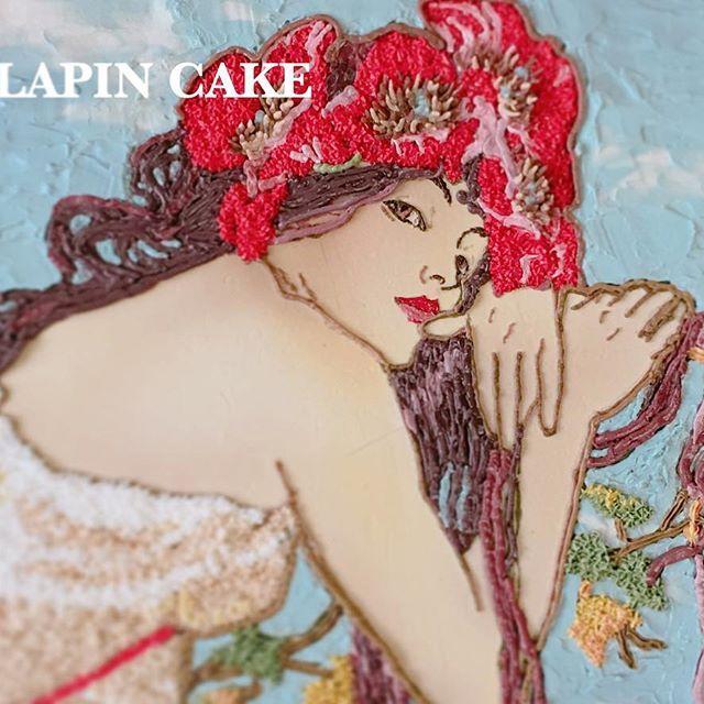 LAPIN CAKE  #명화케이크 #알폰소무하  #alfonsmucha #맛스타그램 #먹스타그램 #2d #2d케이크 #2dcake #instafood #instacake #cake #sweet #buttercreamcake #korea #busan #버터크림케이크