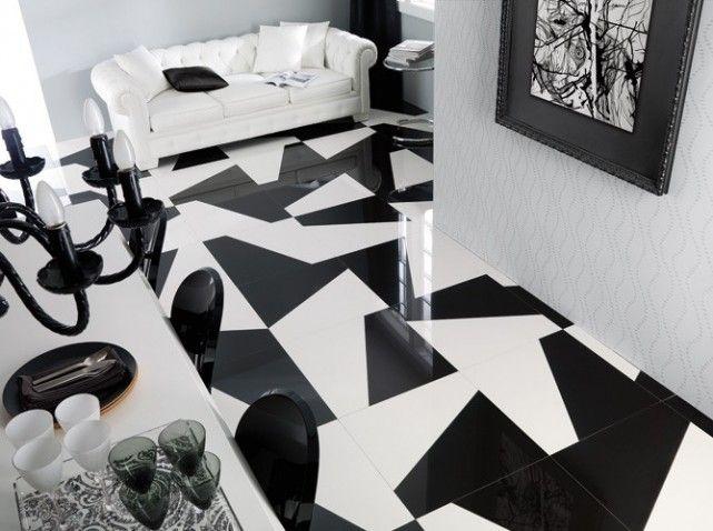 Carrelage noir et blanc graphique famous 30 sol for Carrelage graphique