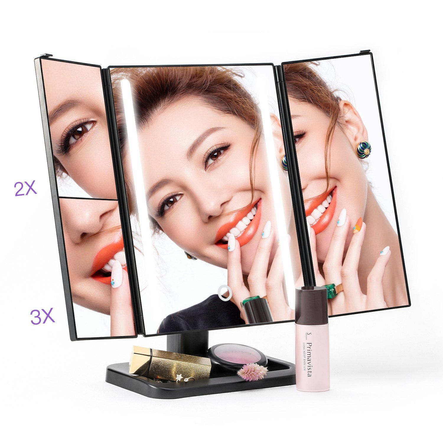 Amico Led Lighted Makeup Mirror Black Trifold and Compact